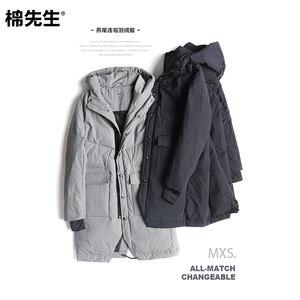 棉先生男装 冬新款燕尾连帽加厚羽绒服男长款 简约保暖羽绒外套