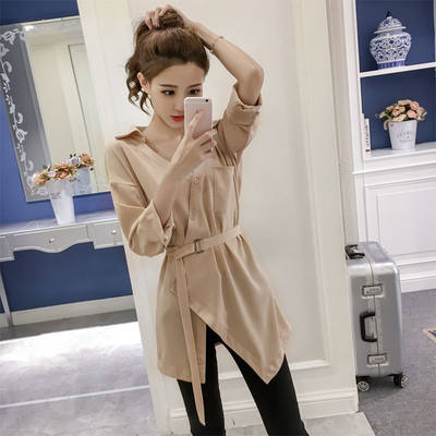 Irregular shirts Korean version of the student loose 2021 spring new upper clothes women long sleeve V-collar shirt outer set of women