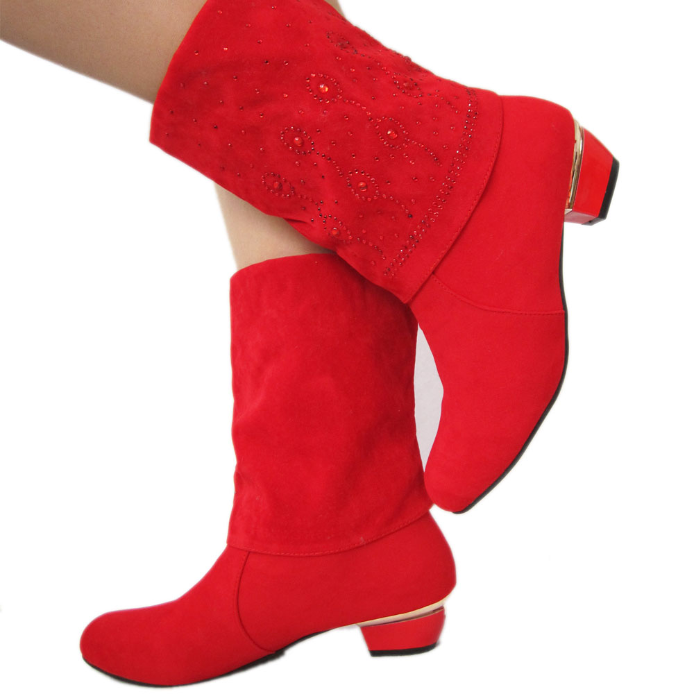 女鞋秋冬季2017新款韩版百搭短靴子潮中桶红色女士粗跟半靴马丁靴