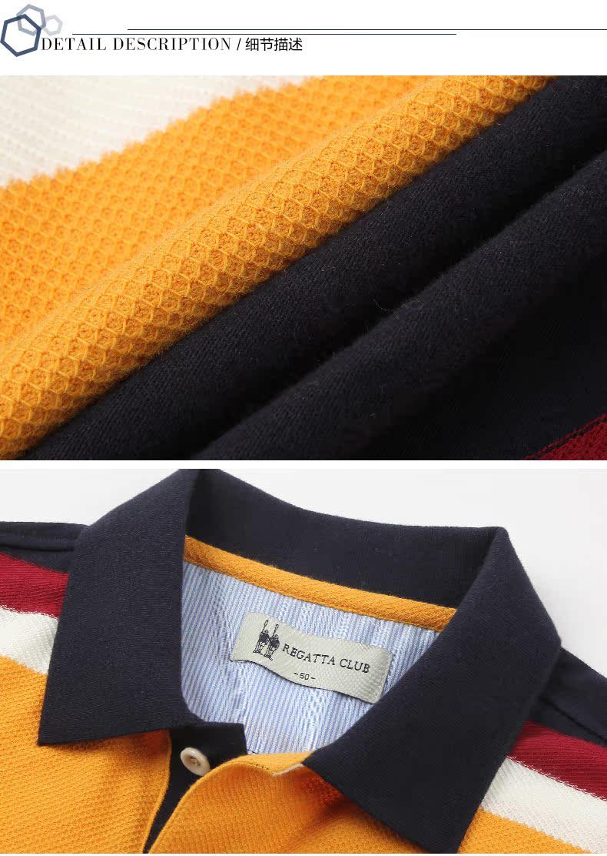 Regatta câu lạc bộ mùa hè cotton nam ngắn tay ve áo t-shirt England đơn giản sọc casual POLO áo sơ mi nam áo thun nam có cổ