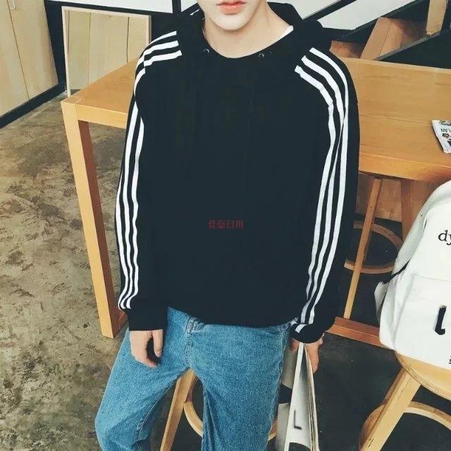 2017春装新款学院韩版三条杠套头连帽卫衣外套风青少年v春装男士