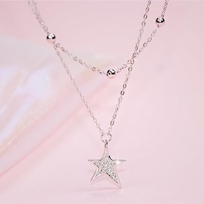 S925银闪锆星星项链双层短款锁骨链女细款时尚个性饰品礼物NX002