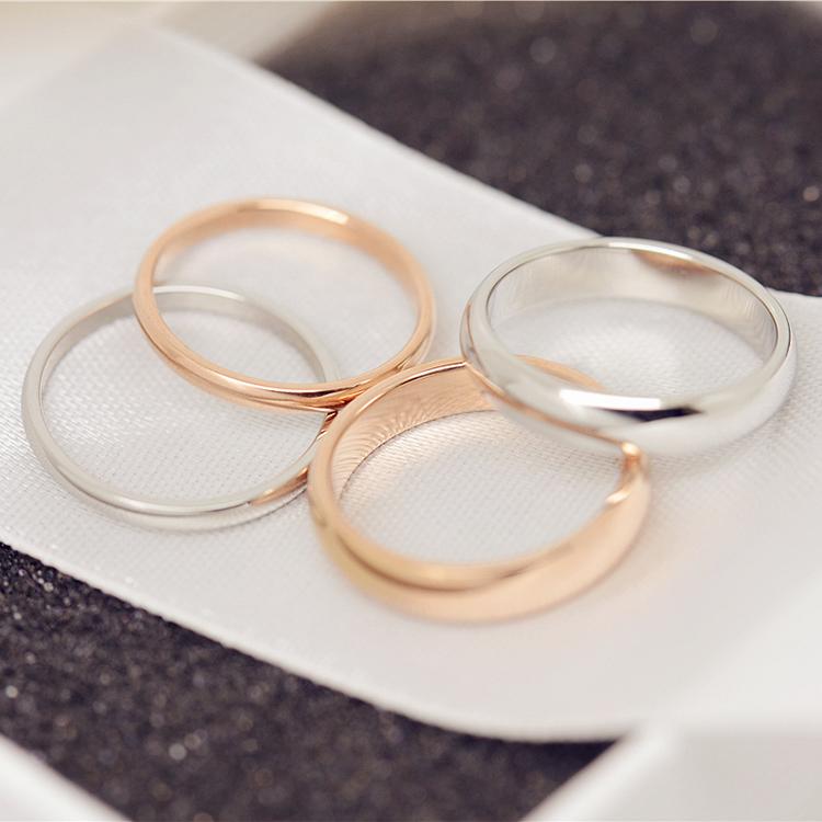 包邮韩国情侣钛钢戒指金保礼物面玫瑰对饰品尾戒色光男女J078