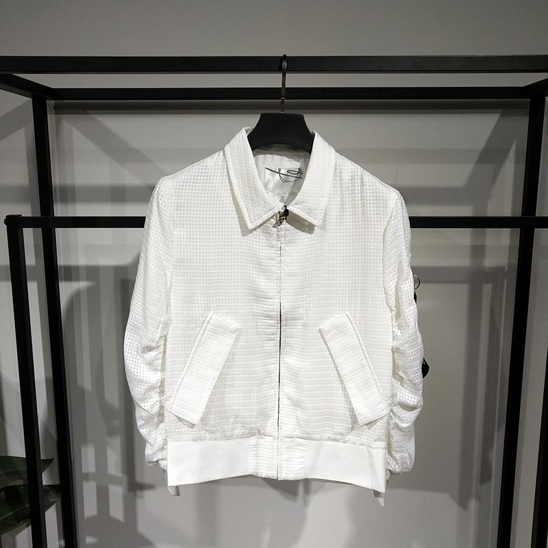 2019春季夹克男士白色领韩版修身时尚v夹克外套棒球薄款网面外套
