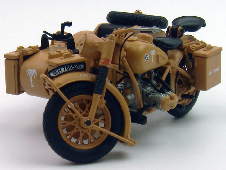 1 24 atlas 1939 1945 bmw r75 motorcycle with sidecar combination yellow ebay. Black Bedroom Furniture Sets. Home Design Ideas