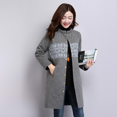 118 Straight Abstract Pattern Single-breasted Commuter Long Sleeve Pockets Collar Padded Print Jacket Long Women