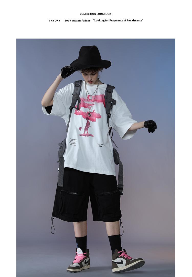 国潮原创短袖恤男潮牌宽鬆背后糖果色块印花嘻哈五分半袖详细照片