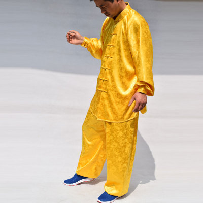 Morning exercises dragon-print Tai Chi suit with golden satin and satin for martial arts performance