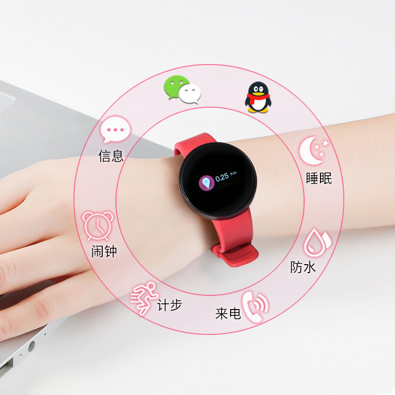 Upgraded Version Of The Color Screen Red [normal Version Of All Features + Heart Rate Blood Pressure Blood Oxygen Monitoring + Timing]