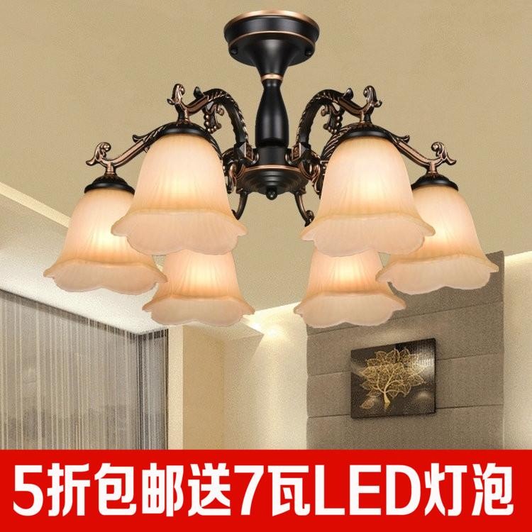 简欧式风格客厅吊灯大气简约锌合金复古茶室卧室餐厅铁艺美式灯具