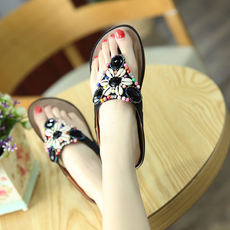 Flip-flops female summer fashion soft bottom wear non-slip rhinestones pregnant women outdoor beef tendon bottom toe flat comfortable