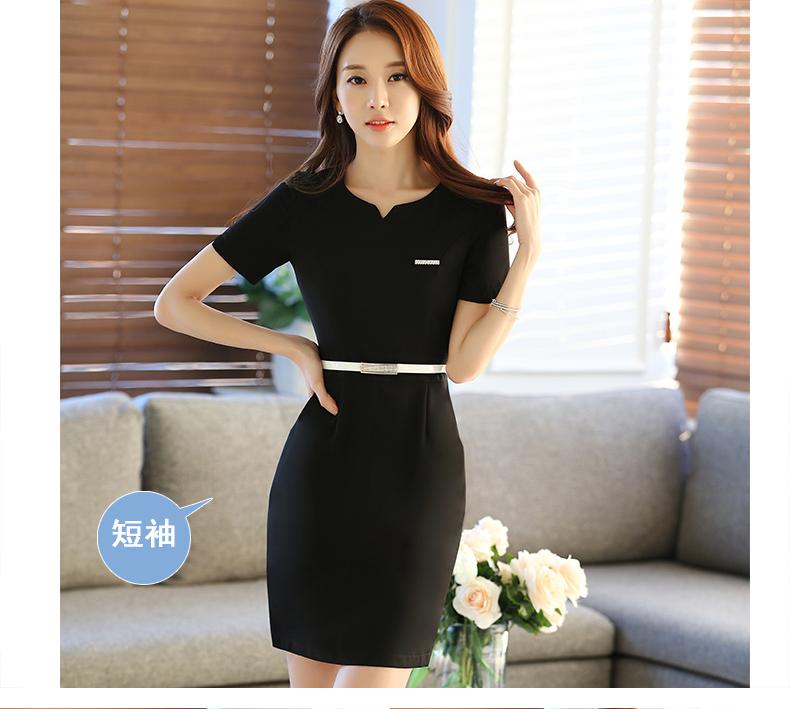 连衣裙中袖美容师工作服职业女裙