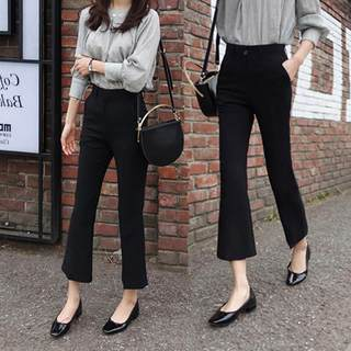 Black micro-hm pants female high waist slim four-sided elastic 2020 autumn winter new nine points professional suit trousers