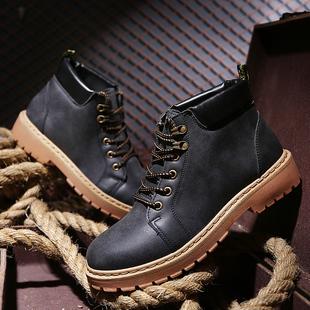 马丁靴男靴子军靴雪地中帮工装男士百搭冬季高帮男鞋短靴潮沙漠靴