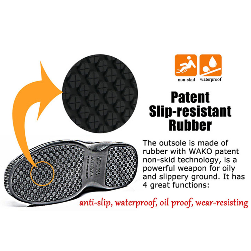 WAKO Mens Kitchen Chef Shoes Nonslip Safety Shoes Oil Waterproof ...