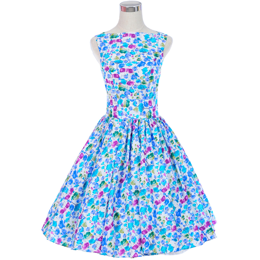 Casual Women 2017 Summer Dress Floral Party Gowns Pinup Vintage 50s ...