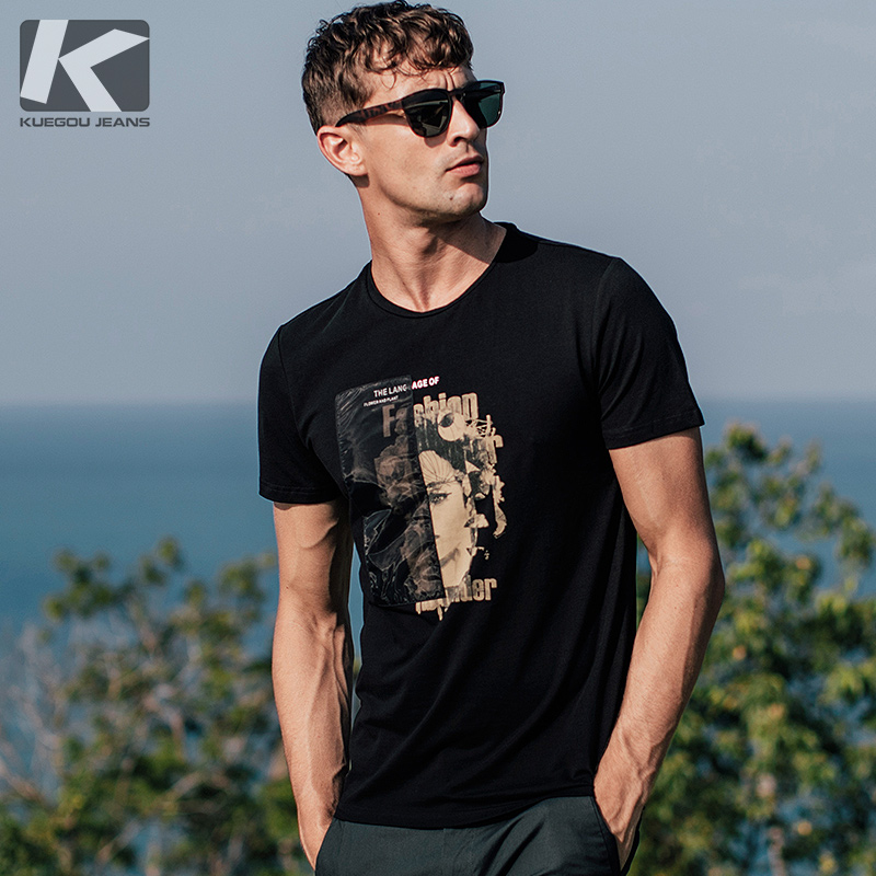 ] Kuegou summer men's short-sleeved T-shirt male Korean casual printing round neck Tide shirt 1578