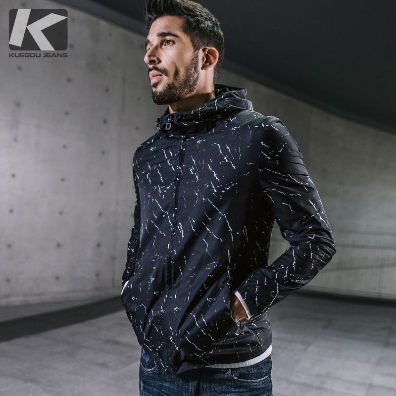 Special]men's short paragraph thin section windbreaker men's autumn Korean slim casual hooded men's jacket tide 0771