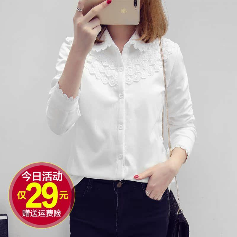 женская рубашка Плюс рубашка женщины шерсти длинные рукава, чтобы сохранить тепло в зимние новые Хань вентилятор студентов выращивать хлопок большого размера мягкий базовый белая рубашка