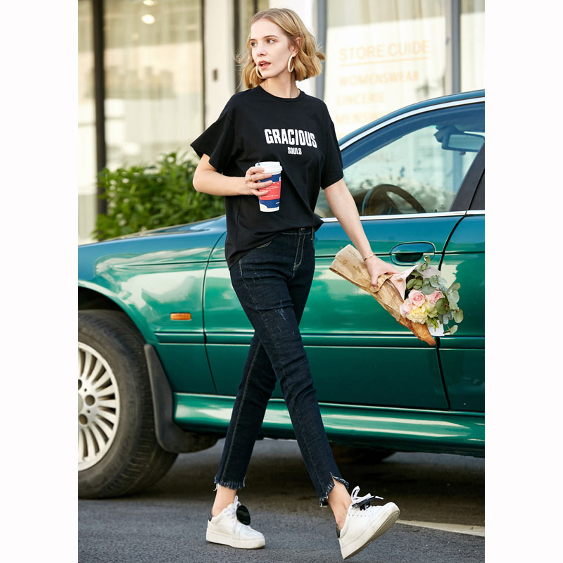Amii minimalist cec high waist small feet jeans female 2019 summer new thin wild black nine pants