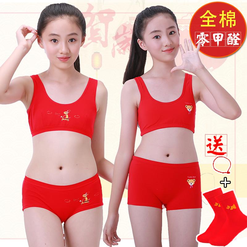 60050e36f198 Girls underwear cotton vest 10 development 9-12 year old girl bra underwear  set big