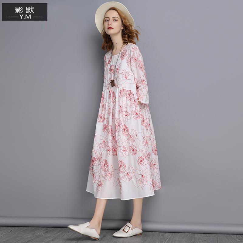 Рукав три четверти Свободные два наборы ребенок стиль Платье 2018 осень новая коллекция Женская одежда красный белый Вышивка a слово юбка