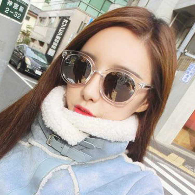Новый очки женщина цветная пленка стрелка серебряный отражающий темные очки женщина волна круглый солнце очки оптовая торговля