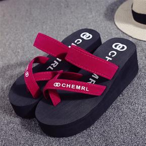 夏新款凉鞋网红厚底增高人字女拖鞋