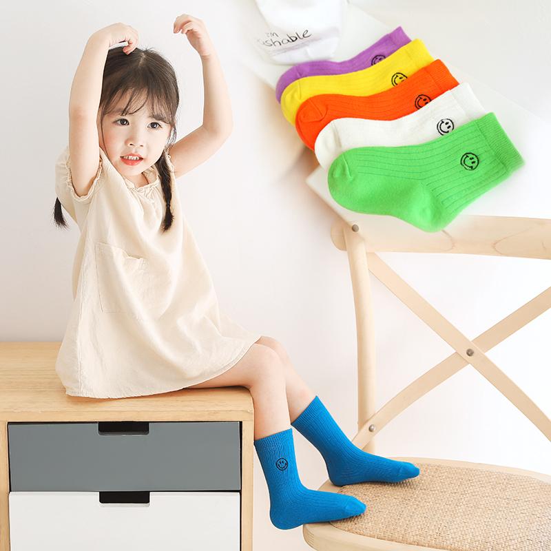 儿童袜子潮ins 春秋薄款男女宝宝小童夏季纯棉彩色中筒笑脸糖果袜