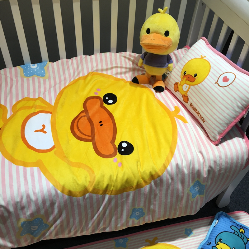 Kindergarten quilt three sets of baby velvet padded warm sheets quilt small yellow duck cartoon children's bedding
