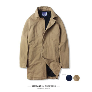 2020 spring and autumn men's trend in Europe and the United States lapel tooling pure cotton windbreaker American mid-length simple jacket with large size
