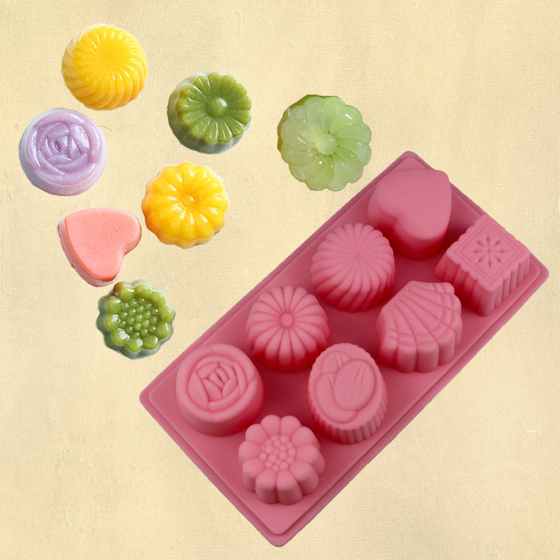 0d1b53fca Crystal moon cake mold silicone mold 8 even flower-shaped love square  handmade soap mold fruit pudding jelly mold