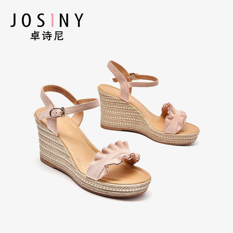 Zhuo Shini sandals female 2019 summer new lace high heels female wild thick sandals female summer