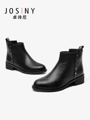 【直播专享】卓诗尼女鞋2019冬新款显瘦圆头复古英伦靴侧拉链踝靴