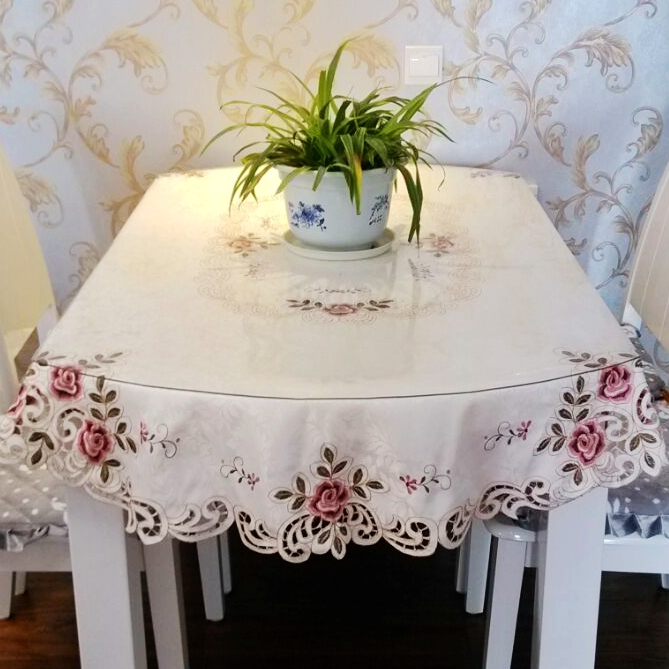 Large Round Table Cloth.Genuine Embroidery High Grade Round Table Cloth Cloth Large Round Table Cloth Round Table Cloth Small Round Coffee Table Cloth Oval Table Cloth