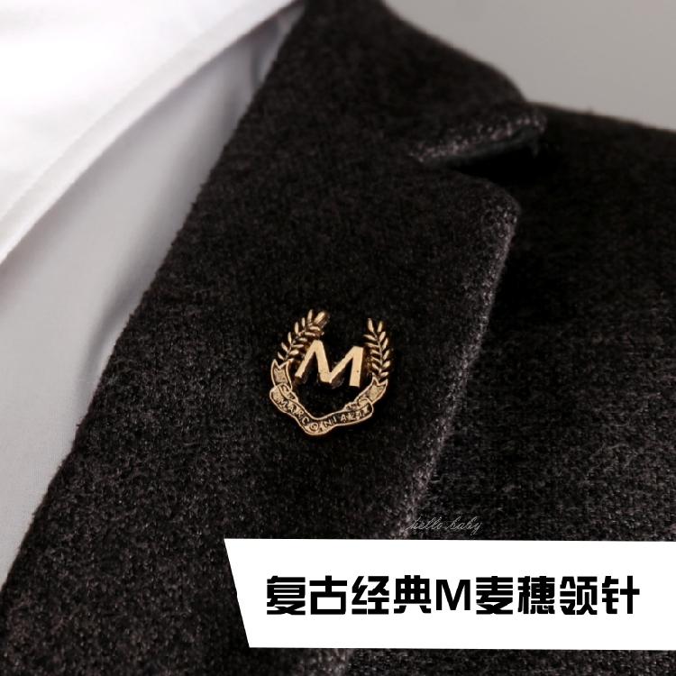 男胸针麦穗西装领针领扣复古风M麦穗衣领夹领扣潮徽章扣针配饰品