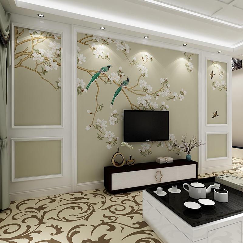 Modern New Chinese Wallpaper Mural Non Woven Wallpaper 3d Living Room Bedroom Tv Background Wall Paper Flower Bird Wall Cloth