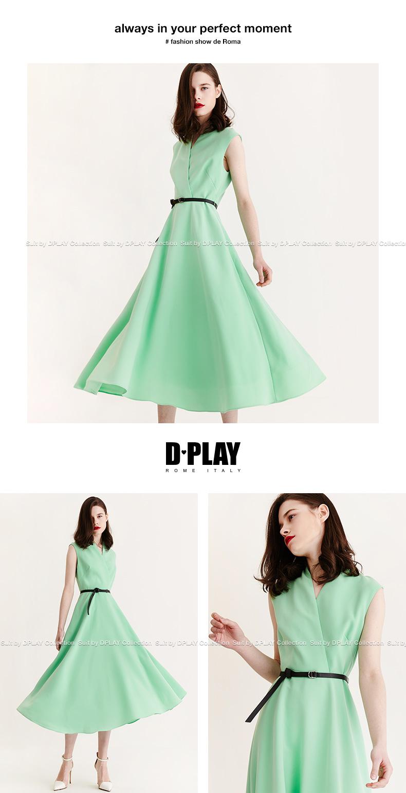 DPLAY2018 mùa hè mới Châu Âu và Mỹ xanh không tay V-Cổ eo cao ăn mặc thời trang thanh lịch lớn váy dài