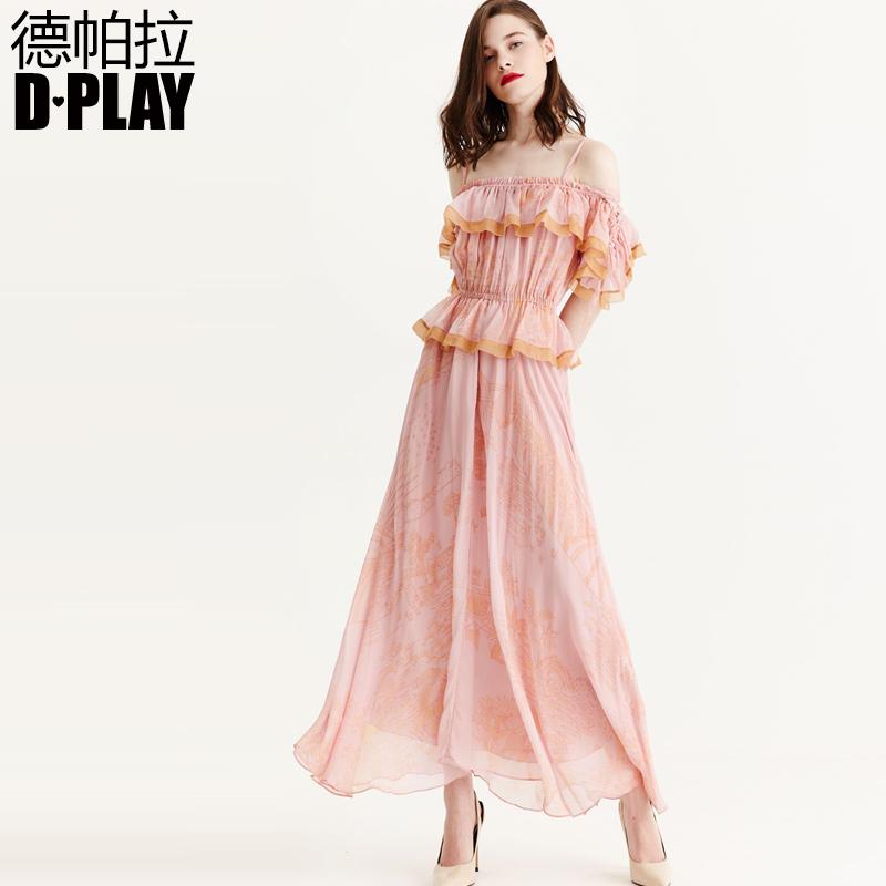 DPLAY2018 mùa xuân mới Châu Âu và Hoa Kỳ màu hồng đậm ống top dress lá sen trang trí ren dài ăn mặc