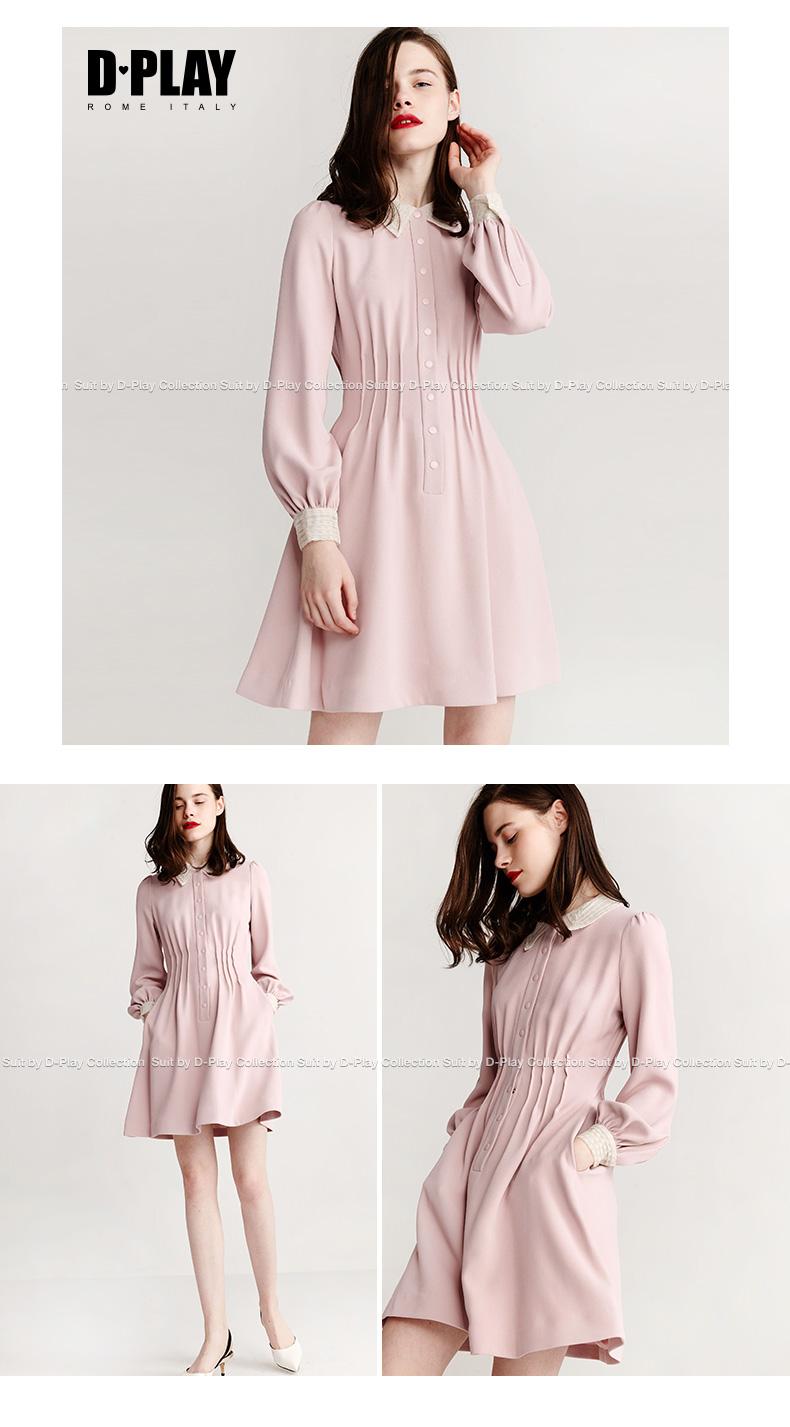 DPLAY2018 mùa xuân mới Châu Âu và Hoa Kỳ đi lại OL hồng gấp eo dài tay áo đầm ren khâu Một từ váy