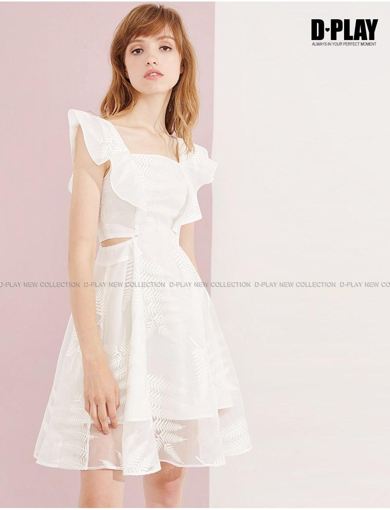 Xia Xinpin Châu Âu và Mỹ trắng bay tay áo vuông cổ áo lá thêu organza eo cao ăn mặc