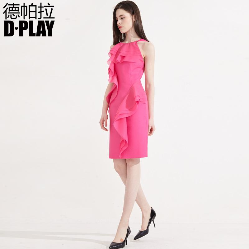 D-CHƠI Mùa Hè Mới Châu Âu và Mỹ Tăng Hồng lưới khâu cao eo váy lá sen Slim dress dress váy