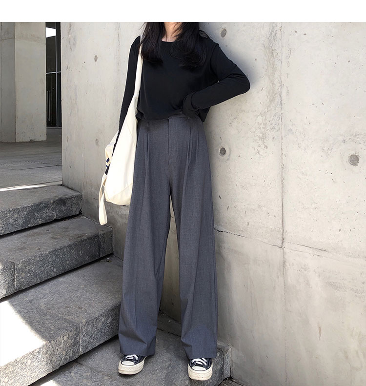 O1CN01aqiGRl1FRFqedQgHr !!470100483 - S-L 2 colors Casual Straight Suit Pants Women High Waist Pant Office Lady wide leg Long Trousers womens (X580)