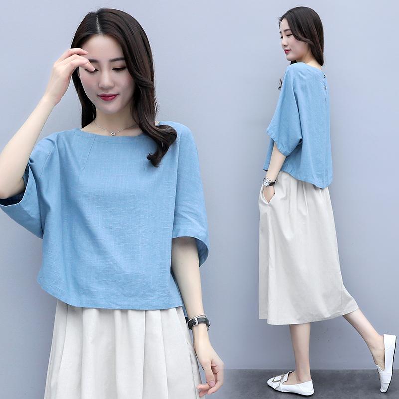 2019衬衫新款短袖亚麻女装夏装T恤女洋气显瘦宽松中袖棉麻上衣潮