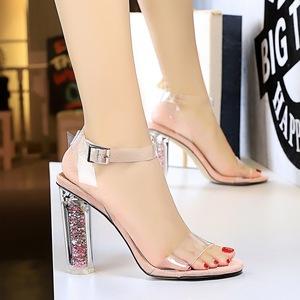 X-21539# 欧美风时尚性感夜店高跟鞋水晶跟高跟透明一字带露趾女鞋凉鞋