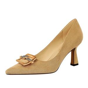 X-23115#  欧美风时尚性感宴会女鞋高跟绒面浅口尖头水钻四方扣单鞋 鞋子批发女鞋批发