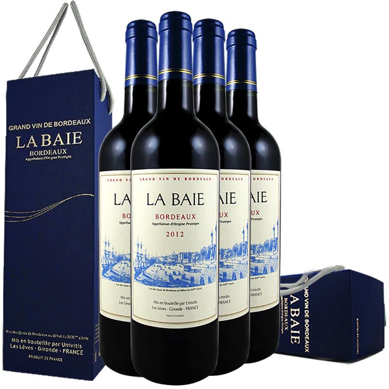 【4瓶红酒配礼盒】2012年份法国波尔多AOP红酒葡萄酒原瓶进口整箱