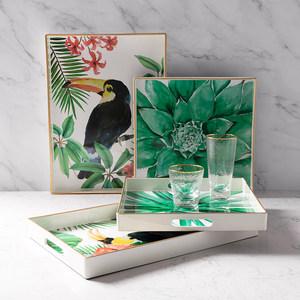 奇居良品 北欧彩色塑料装饰茶具托盘简约长方形圆形家用茶盘托盘