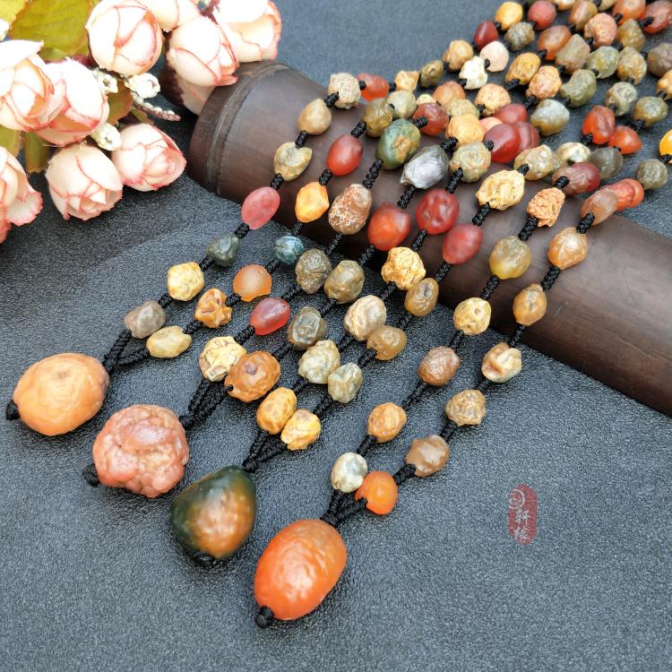 天然奇石 新疆阿拉善玛瑙 葡萄干筋脉石项链戈壁料经脉原石毛衣链