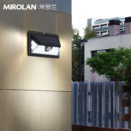 Solar outdoor wall lamp waterproof human body inductive modern minimalistic creative outer wall light garden balcony aisle